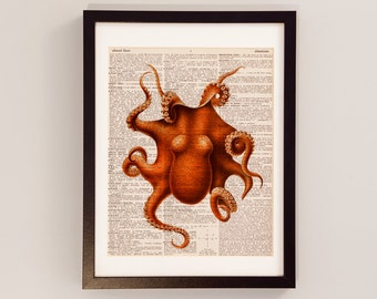 Octopus Dictionary Print - Ocean Art - Print on Vintage Dictionary Paper - Octopus Art - Squid Print - Marine Life, Sea Life