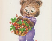 Vintage Russian birthday card - Cute bear with basket of mushrooms - made in USSR