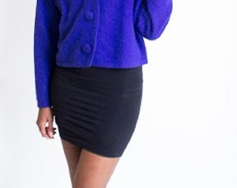 Vintage 1980's Electric Blue, Purple Large Button Sweater, French Connection, Soft, Cuddly, Oversize Sweater, Size Medium