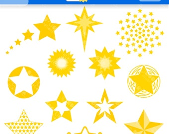 Yellow Stars Digital Clipart. Christmas Clip Art for Instant Download. Xmas Clipart. Stars Clipart. Stars Clip Art. Xmas Clip Art