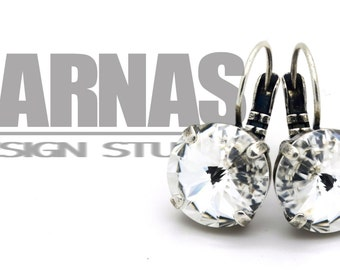 CRYSTAL CLEAR 12mm Crystal Rivoli Drop Leverback Earrings Swarovski Elements *Pick Your Finish *Karnas Design Studio *Free Shipping