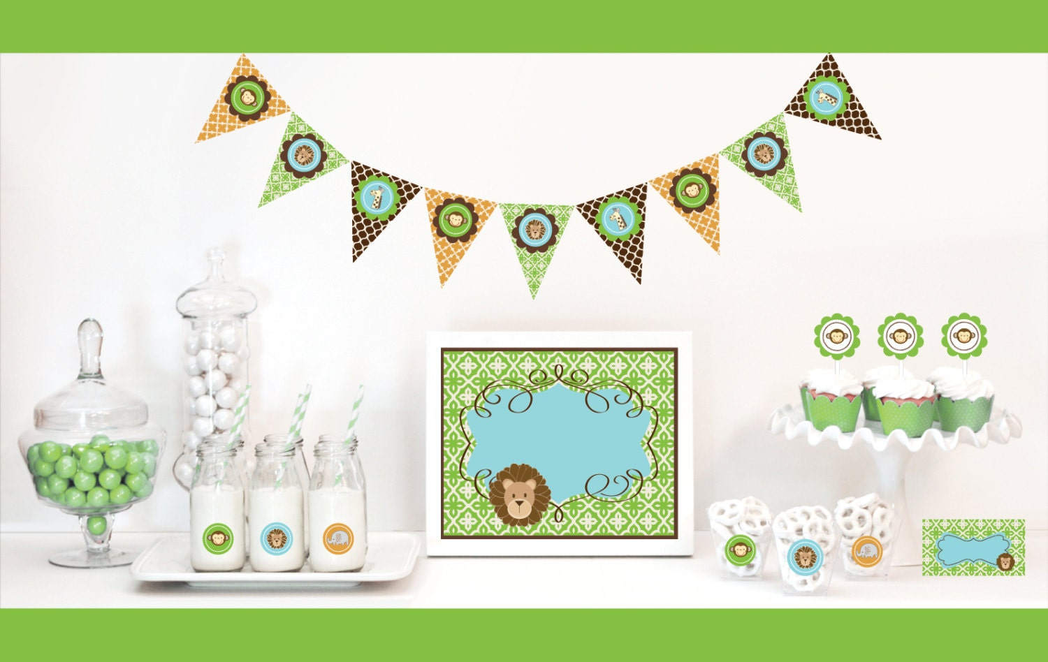 jungle theme baby shower decorations kit safari baby by modparty. Black Bedroom Furniture Sets. Home Design Ideas