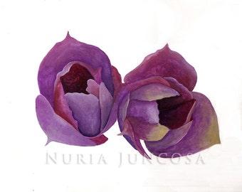 PURPLE TULIPS - Original Watercolor - Flower Painting - 30 x 21,5 cm / 11.8 x 8.5 inch