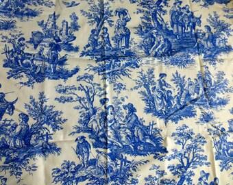"French CountryToile De Jouy Fabric 1.75 Yards Vintage Blue & White  Heavy Cotton Home Decor, DIY Fashion Crafting -63""Lx56""w 160cm x143cm"
