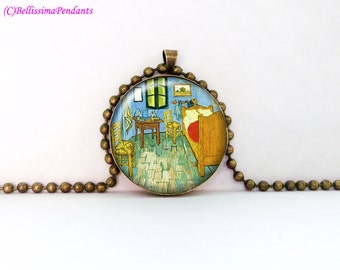 Bedroom in Arles, Vincent van Gogh, 1 in. 25.4 mm necklace or keychain
