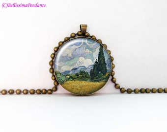 Wheat Field with Cypresses, Vincent van Gogh, 1 in. 25.4 mm necklace or keychain