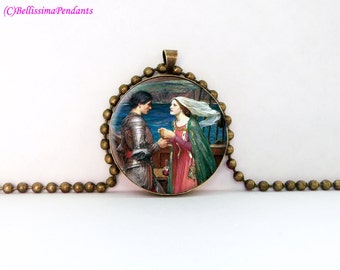 Tristan and Isolde, John William Waterhouse, 1 in. 25.4 mm necklace or keychain