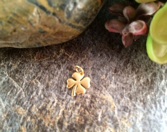 Four Leaf Clover Charm, Gold Four Leaf Clover, Four Leaf Clover Pendant, Gold Pendant, Gold Charm, Gold Plated Bronze