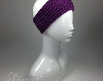 BIG SALE, Knit Headband, Cable Knit Headband, Winter Headband, Ear Warmer, Purple Headband, Womens Headband, Knit Fashion Accessory