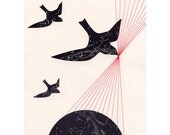 ARCHIVAL PRINT Star Birds / map art collage black constellation globe flight travel red thread