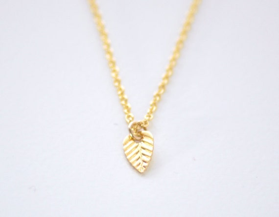Tiny gold Leaf necklace - dainty delicate necklace - extra small leaf charm - layering necklace - delicate gold filled chain- Tiny leaf gold