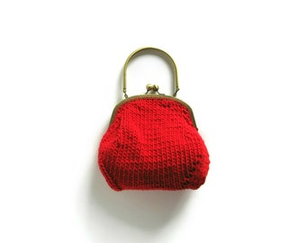 Red Clutch Knitted, Kiss Lock Purse, Purse Knitted, Red Cotton, Top Handle Bag, Women Handbag, Red Purse, Clasp Purse, Evening Purse, SALE