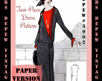 Vintage Sewing Pattern Instructions 1920's Flapper Easy Two- Piece Dress Booklet  #3002 -PAPER VERSION-
