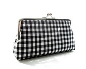 SALE Black And White Check Cotton Clutch - Size Large - Ready To Ship