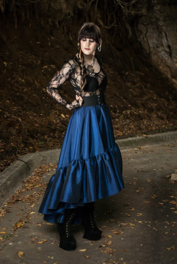 "Steampunk Plus Size Skirt - Pirate Renaissance Dark Blue Taffeta - ""Ellis Style"" Custom to your size 2XL-5X"