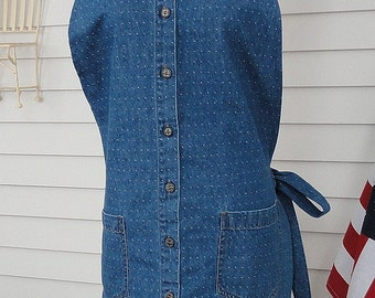 Full Apron / Lightweight Denim with Dots