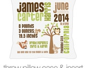 Birth announcement pillow new baby gift woodland friends custom throw pillow with pillowcase