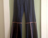 """70's bell bottoms - French Dressing Co - vintage bell bottoms - bell bottom jeans - 29.5"""" waist - hippie jeans - French vintage"""