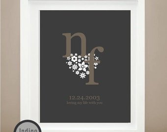 Couples Initials Love Print, Sweetheart Unique stylish floral heart Wedding Gift, romantic gift, 8X10 Personalized Wedding, Gift For him