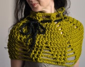 Crochet chunky minimalist capelet mini poncho shoulder warmer collar cowl - Lotus Flower in lemongrass or CHOOSE YOUR COLOR - Gift under 60
