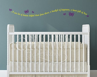 Baby nursery wall decal, A Wee bit of Heaven, new baby vinyl decal, wall lettering with butterflies