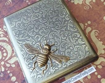 Big Cigarette Case Steampunk Cigarette Case Antiqued Brass Bee Case Vintage Inspired Victorian Smoking Accessories Large Size