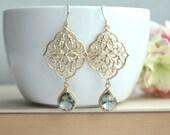 Grey Art Deco Earrings, GypsyFiligree Earrings, Ornate Earrings, Chandelier Earring, Grey Black Earring, Gold Boho Earring, Bridesmaids Gift