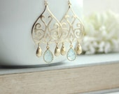 Gold Moroccan, Boho Filigree Aqua Blue Crackled Glass Drops Chandelier Earring. Sister, Mother. Maid of Honor. Bridesmaids Gift. Blue Bridal