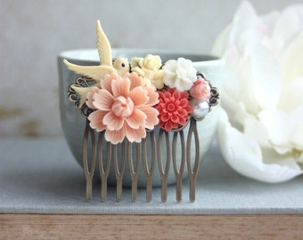 Peach Pink Chrysanthemum, Coral Mum, Ivory Flying Bird, Pearl Flower Collage Hair Comb. Peach Wedding. Bridesmaids Gift. Nature Barn Wedding