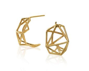 Geometric Gold Earrings, Geometric Hoop Earrings, 14K Recycled Gold earrings, 14K Gold Earrings, Bridal Earrings, Fast Free Shipping