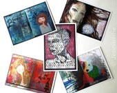 Giant Oversized Art Journal Page Postcards - Set Four (Set of 5)