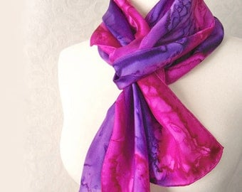 Silk Scarf Hand Dyed in Fuchsia and Orchid Purple