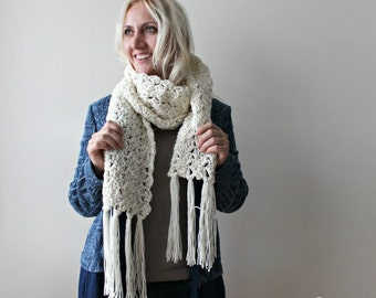 Long Creamy White Scarf- Fringed Scarf- Ribbed Scarf