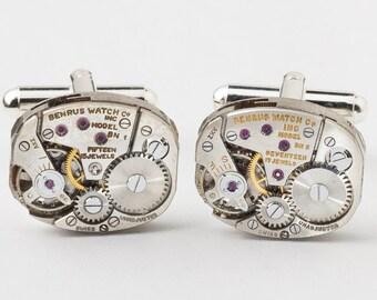 Steampunk Cufflinks Vintage Benrus watch movements wedding anniversary Gift Grooms silver cuff links men jewelry by Steampunk Nation 2739