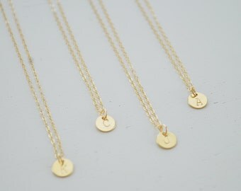 Gold Disc Initial Necklace - tiny gold filled dot small circle round personalized charm hand stamped pendant gift - simple everyday jewelry