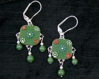 Mid Century Green Glass Button Earrings