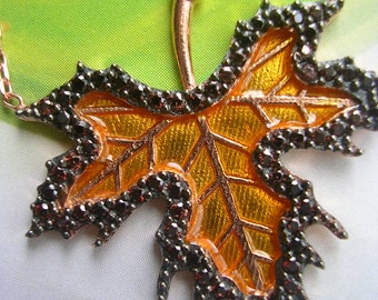 Maple Leaf pendant sterling rose gold hand crafted jewelry necklace