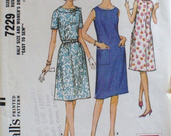 Women's 1960s Sewing Pattern - Half Size Easy to Sew Dress  - McCall's 7229 - Size 12 1/2, Bust 33