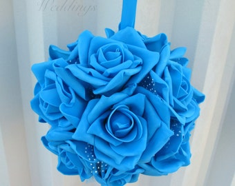 Wedding flower balls Turquoise foam rose Flower girl pomander Kissing ball Wedding decorations Ceremony Aisle pew markers
