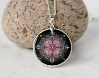 Red, Purple, Yellow, Black  Abstract Ornament Necklace Polymer Clay