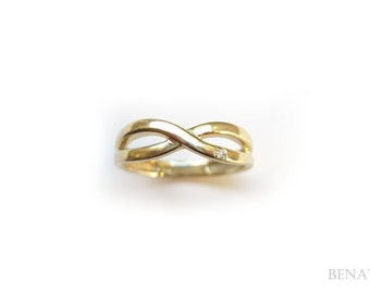 Sale - Gold Infinity Ring with a diamond - Solid 14k yellow gold ring  - Gold infinity knot diamond ring - infinity promise ring