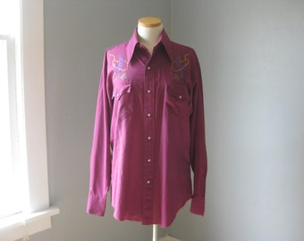 1970s Vintage Pearl-Snap Embroidered Cowboy Shirt