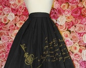 Hand painted custom skirt with gold or silver print key heart lock gothic classic lolita script motivational original calligraphy