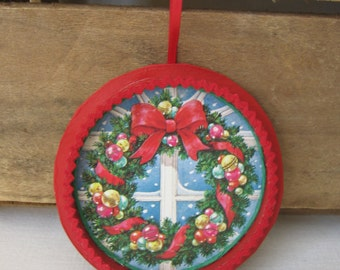 Ribbon Spool Wreath Ornament, Retro Ornament, Christmas Decor, Upcycled Card and Ribbon Spool Ornament, Wreath in Window SnowNoseCrafts