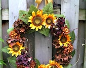 Sunflowers and hydrangea wedding wreath, ON SALE! summer into fall. multi-season wreath, French Country Cottage chic, cheerful