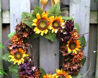 Sunflowers and hydrangea wedding wreath, summer into fall. multi-season wreath, French Country Cottage chic, cheerful