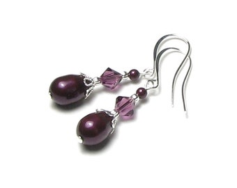 Amethyst Swarovski Crystal Blackberry Pearl Teardrop Silver Earrings Romantic Purple Drop Style Bridesmaid Bridal Wedding Jewelry Gift Women
