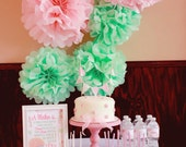 5 Wedding Tissue Paper Pom Poms, Cool Mint, Light Pink Pom Poms, Shabby Chic Party, 1st birthday Party, Mothers Day, Spring, Easter Decor