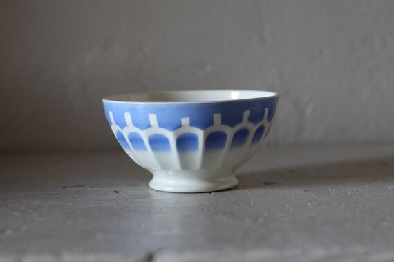 Large Vintage Digoin Blue Cafe Au Lait Bowl Shabby Chic