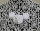 White Cotton Rosette Necklace with Sparkly Vintage Brooch on a Silver Chain